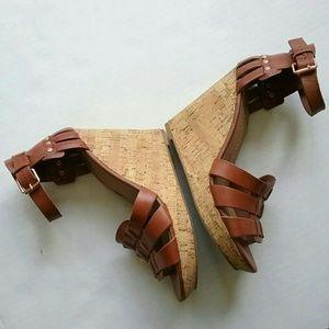 DV by Dolce Vita Shoes - Dolce Vita Brown Sandal Wedge Cork Heel Shoes